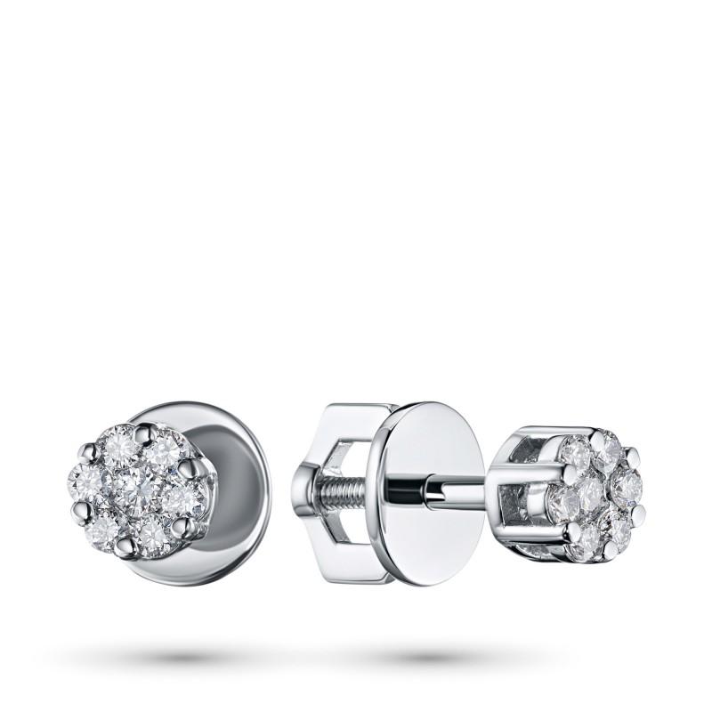 Пусеты из белого золота с бриллиантами э0901пс10134800