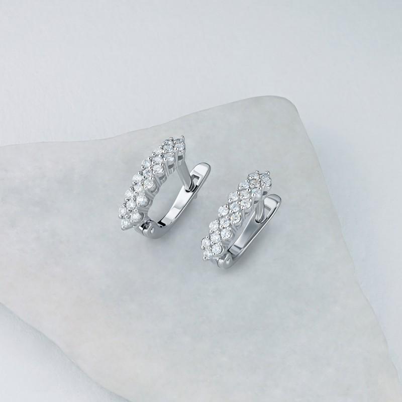 Серьги из белого золота с бриллиантом э0901сг01210112 (фото 4)