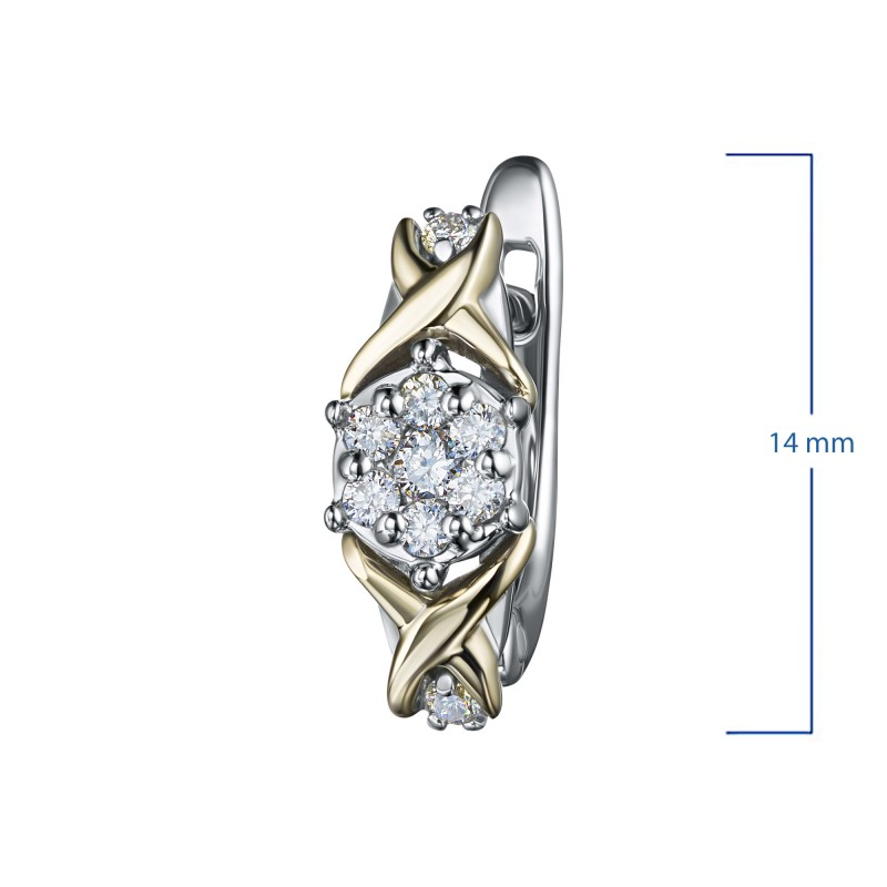 Серьги из комбинированного золота с бриллиантами э1001сг02203650 (фото 3)