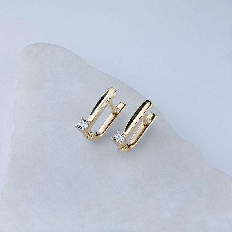 Серьги из комбинированного золота с бриллиантом э1001сг08200120 (фото 4)