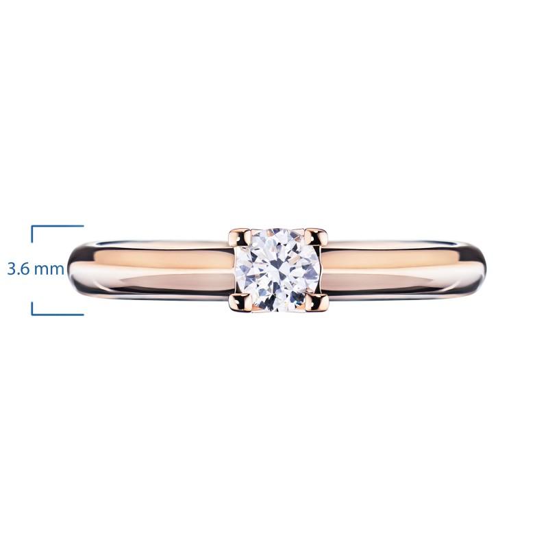 Кольцо из красного золота с бриллиантом э0201кц04203137 (фото 2)