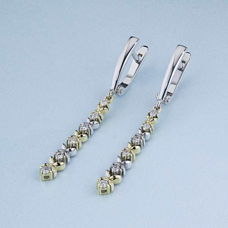 Серьги из комбинированного золота с бриллиантами э1001сг02184200 (фото 4)