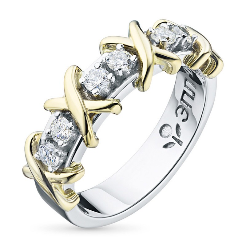 Кольцо из комбинированного золота с бриллиантом э1001кц06164900