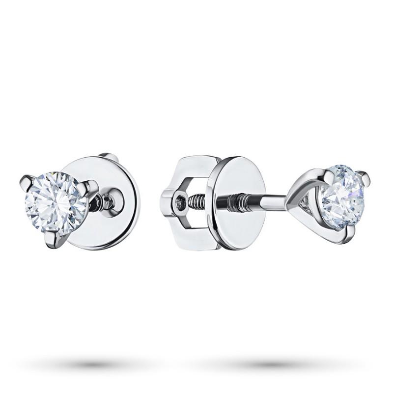 Пусеты из белого золота с бриллиантом э0901пс05112600