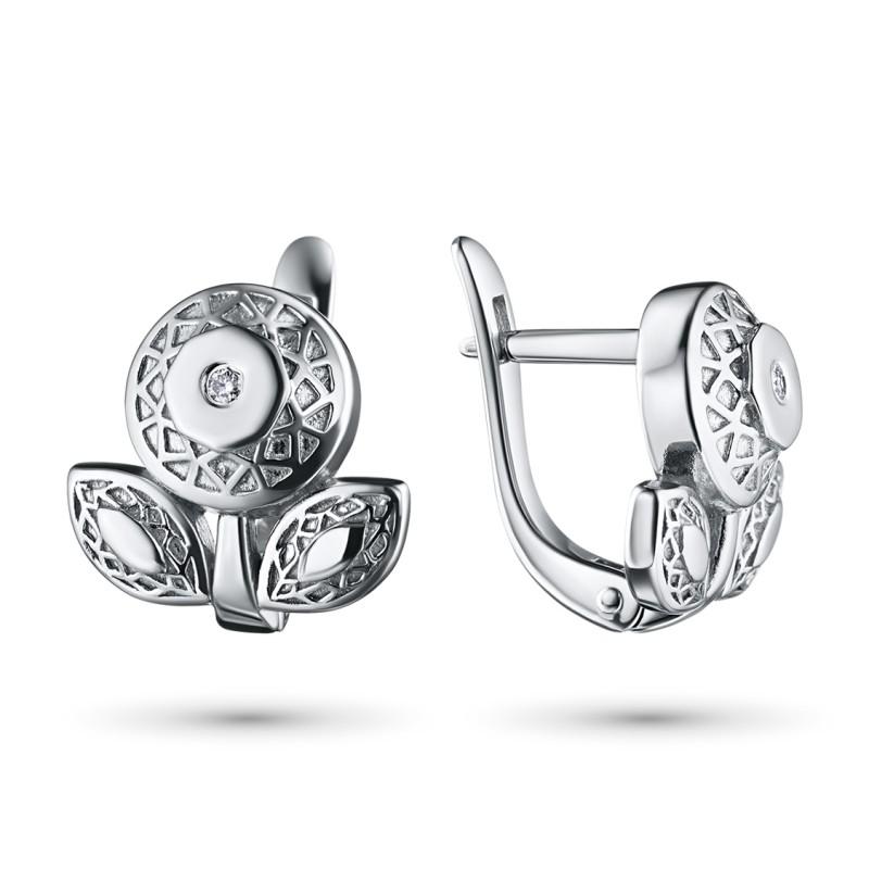 Серьги из серебра с бриллиантом э0601сг04202937
