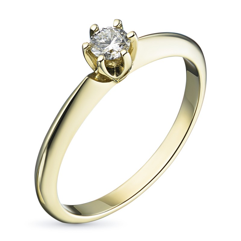 Кольцо из желтого золота с бриллиантом э0301кц05153100