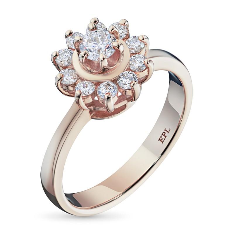 Кольцо из красного золота с бриллиантами э0201кц07153800