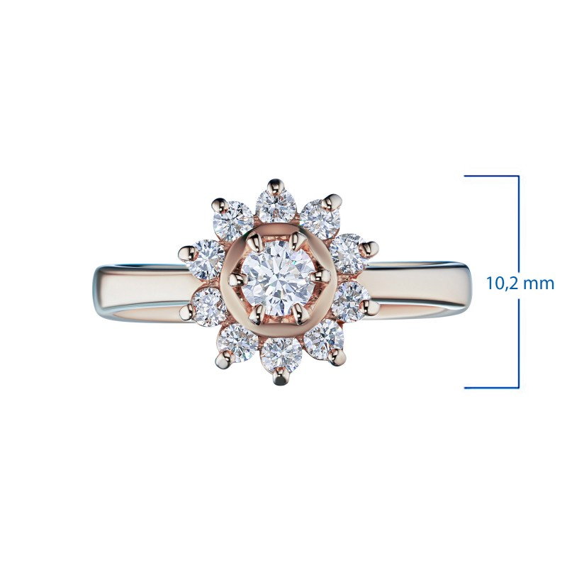 Кольцо из красного золота с бриллиантами э0201кц07153800 (фото 3)