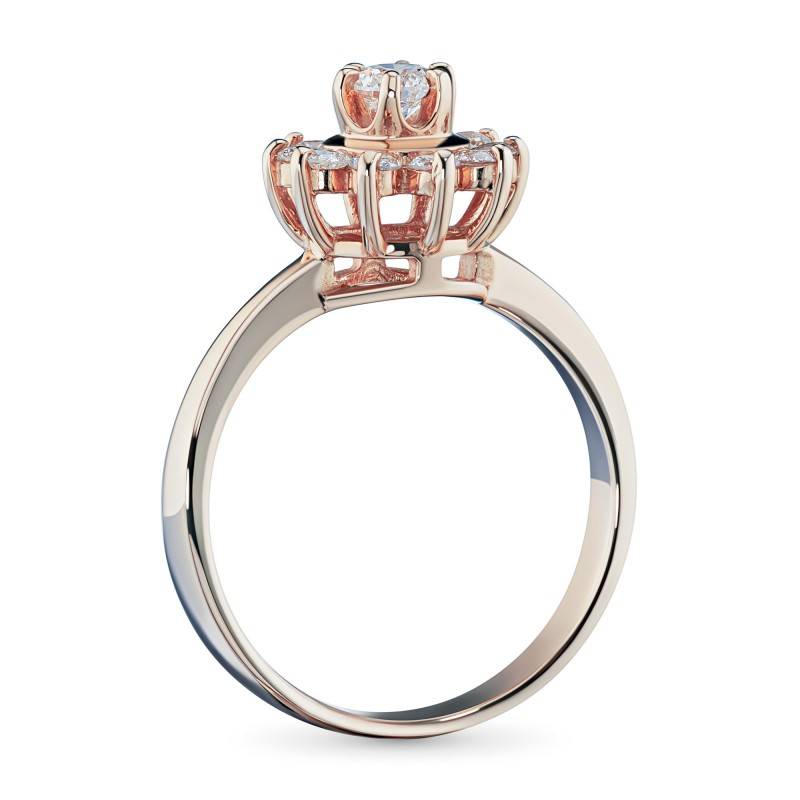 Кольцо из красного золота с бриллиантами э0201кц07153800 (фото 4)