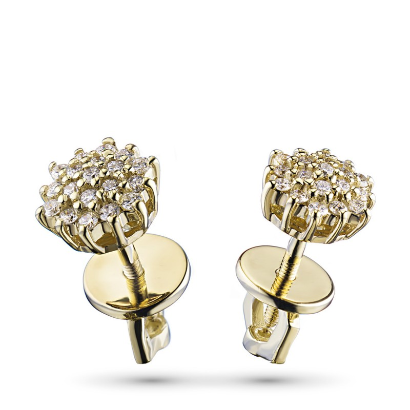 Пусеты из желтого золота с бриллиантом э0301пс05165900