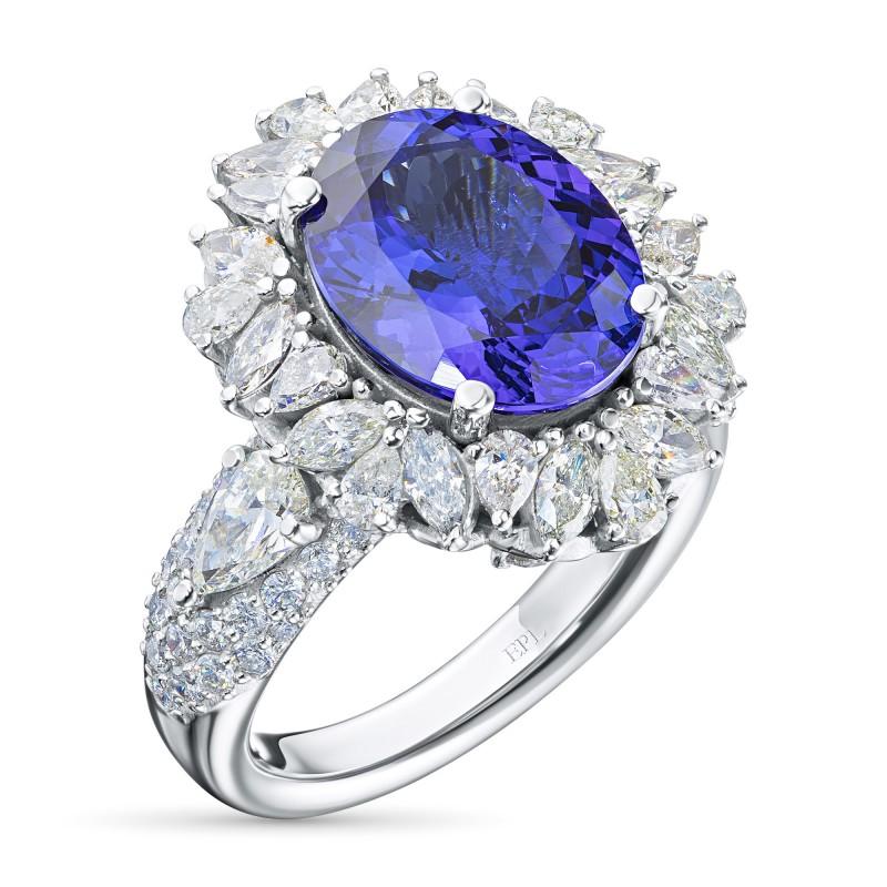 Кольцо из белого золота с бриллиантами и танзанитом э0942кц01210407