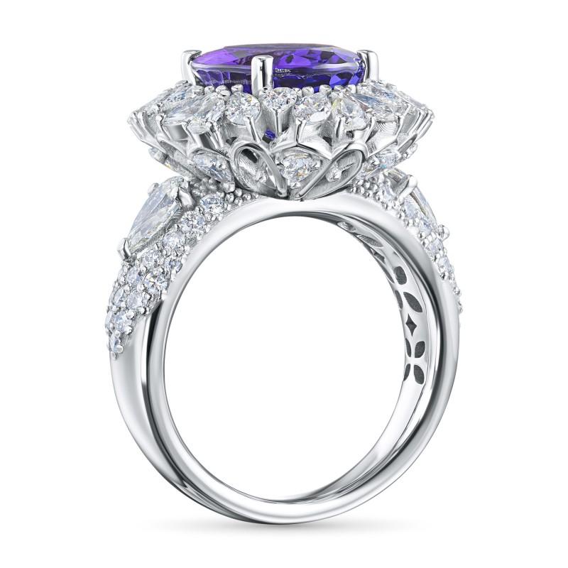 Кольцо из белого золота с бриллиантами и танзанитом э0942кц01210407 (фото 4)