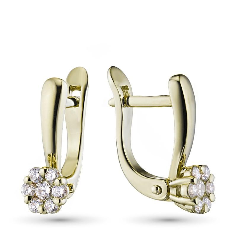 Серьги из желтого золота с бриллиантами э0301сг04152800