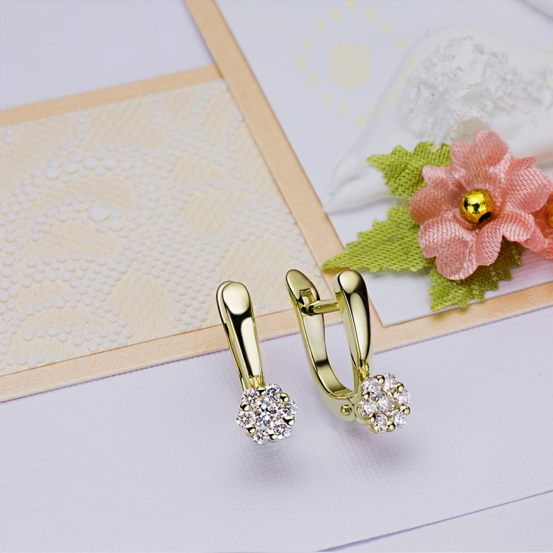 Серьги из желтого золота с бриллиантами э0301сг04152800 (фото 4)