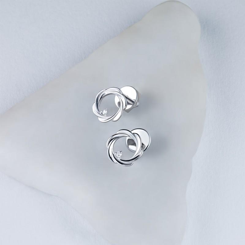 Пусеты из серебра с бриллиантом э0601пс04201593 (фото 4)