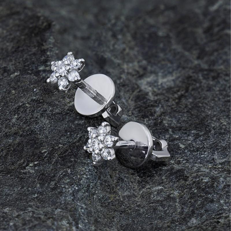 Пусеты из белого золота с бриллиантами э0901пс04164400 (фото 4)