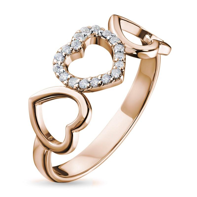 Кольцо из красного золота с бриллиантом э0201кц12142300