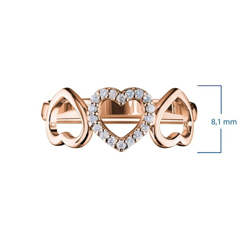 Кольцо из красного золота с бриллиантом э0201кц12142300 (фото 2)