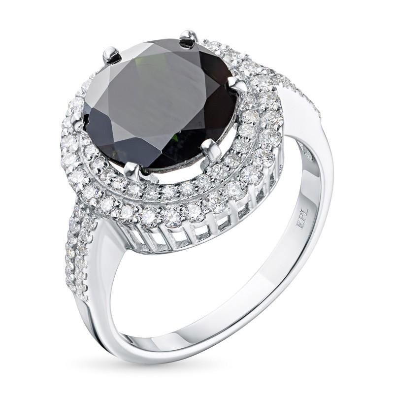 Кольцо из белого золота с бриллиантами и хромдиопсидом э0936кц05210471