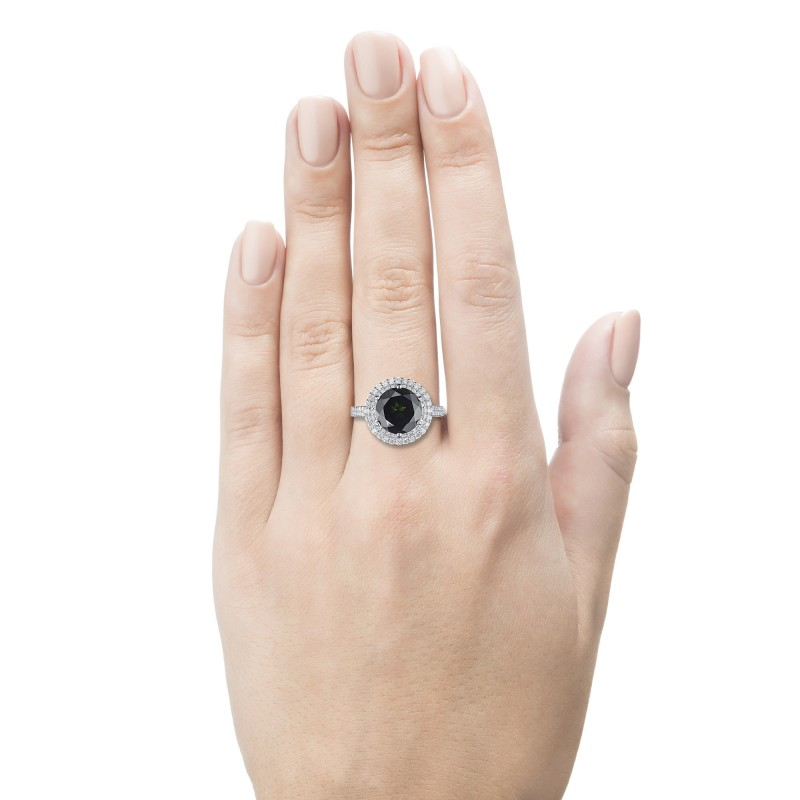 Кольцо из белого золота с бриллиантами и хромдиопсидом э0936кц05210471 (фото 2)