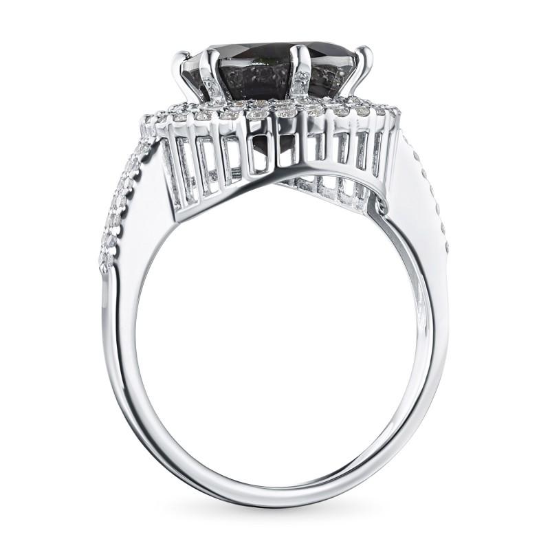 Кольцо из белого золота с бриллиантами и хромдиопсидом э0936кц05210471 (фото 4)