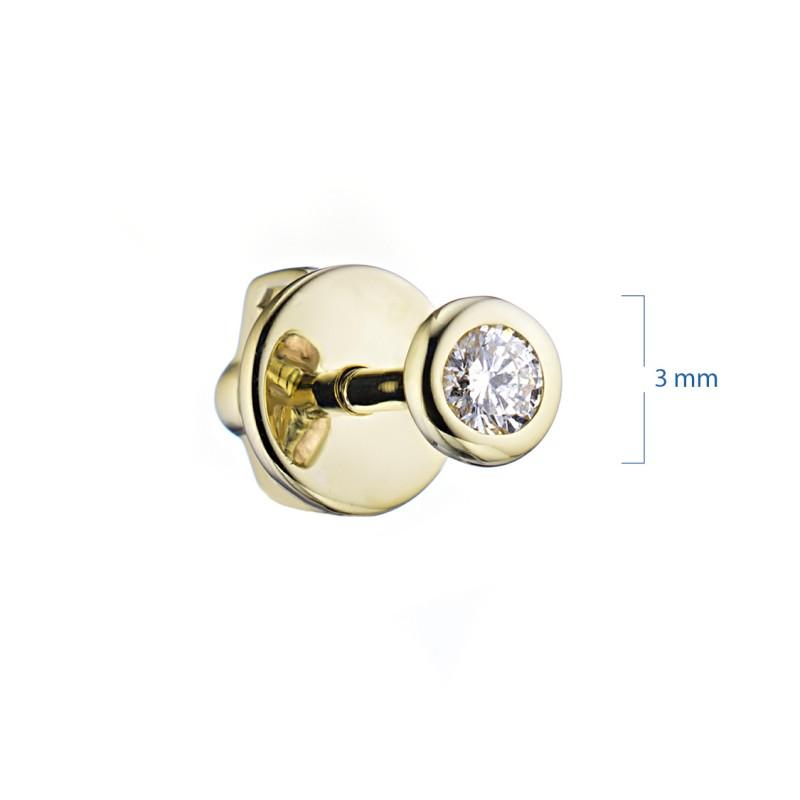 Пусеты из желтого золота с бриллиантом э0301пс02164200 (фото 2)