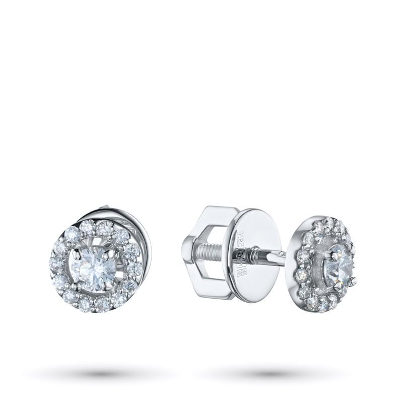 Пусеты из белого золота с бриллиантами э0901пс04210703 (фото 2)