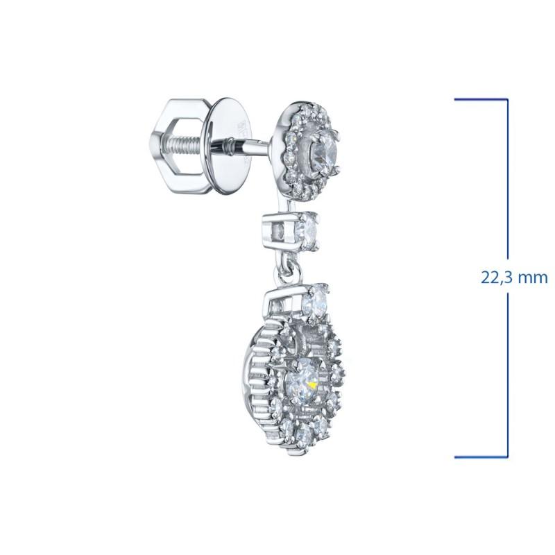 Пусеты из белого золота с бриллиантами э0901пс04210703 (фото 3)