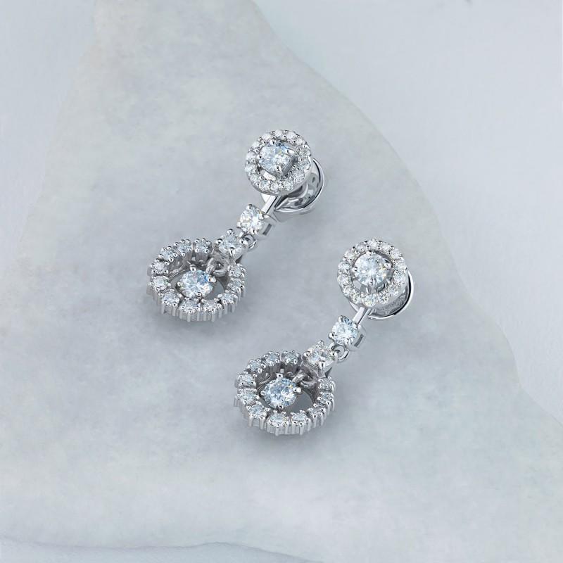 Пусеты из белого золота с бриллиантами э0901пс04210703 (фото 6)