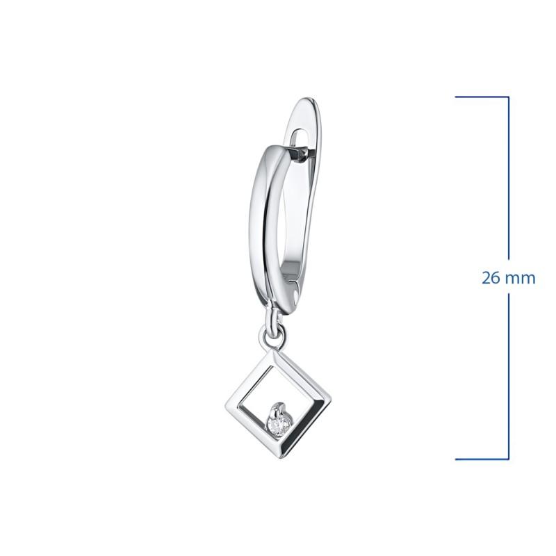 Серьги из серебра с бриллиантом э0601сг09152000 (фото 2)